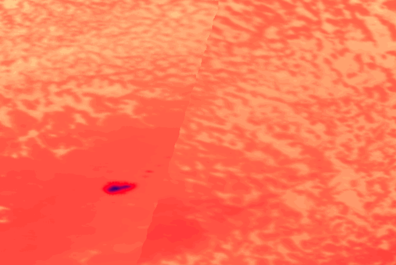 Vapor plume candidate first detection thermal image at 04:46:30 UTC
