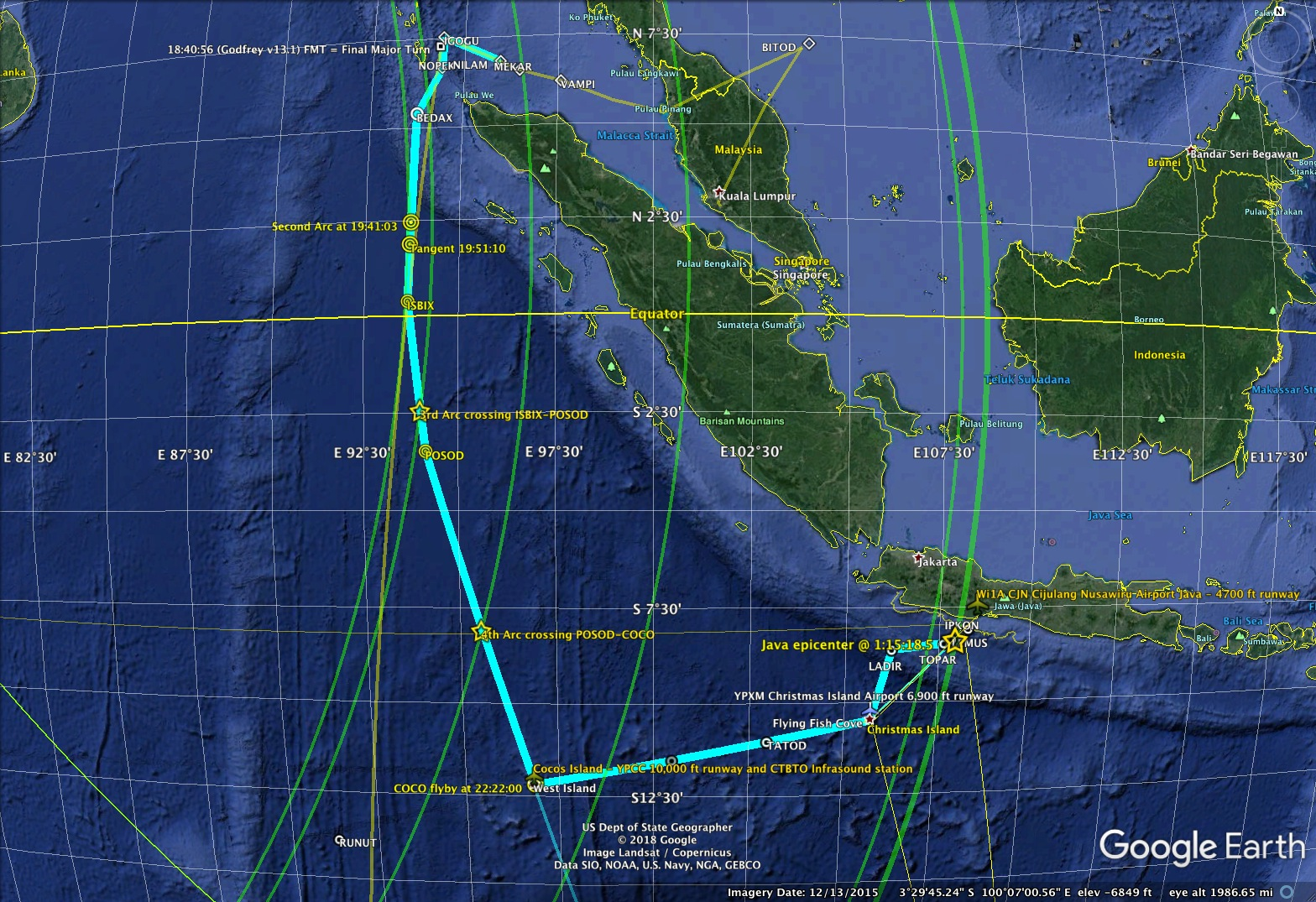 MH370 waypoint path map image.